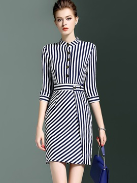 Stripe Half Sleeve Short Day Dress