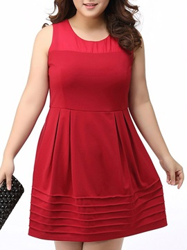 Solid Color Crew-Neck Sleeveless Plus Size Dress