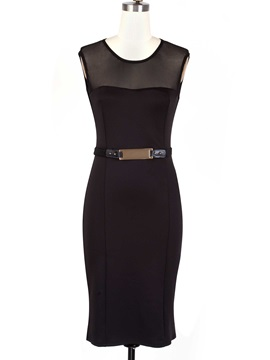 Contrast Mesh Sleeveless Bodycon Dress