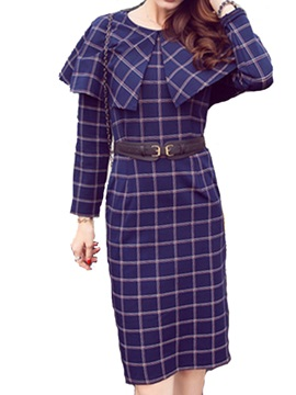 Plaid Long Sleeve Belt Day Dress