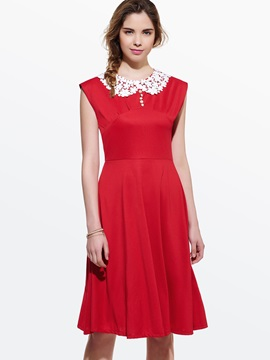 Contrast Lace Patchwork Sleeveless Skater Dress