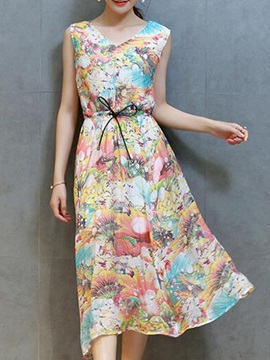 Floral Print V Neck Sleeveless Split Day Dress