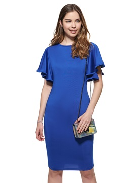 Solid Color Ruffle Sleeve Bodycon Dress