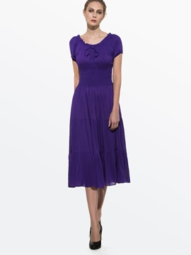 Plain Short Sleeve Slim Day Dress