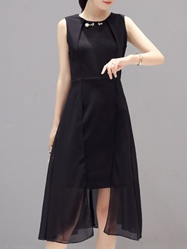 Solid Color High-Low  Day Dress