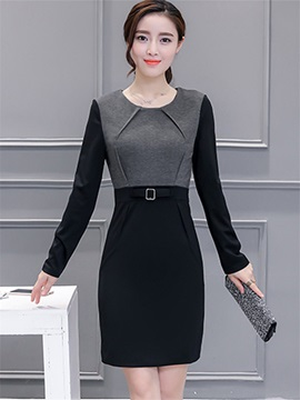 Contrast Color Round Neck Belt Long Sleeve Dress