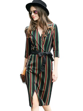Vertical Striped Notched Lapel Lace-Up Day Dress