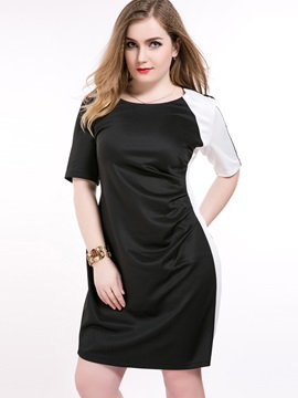 Color Block Half Sleeve Zipper Day Dress