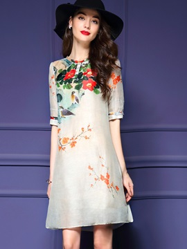 Floral Print Round Neck A-Line Day Dress