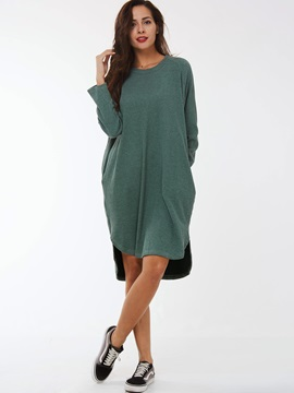 Solid Round Neck High-Low Sweater Dress
