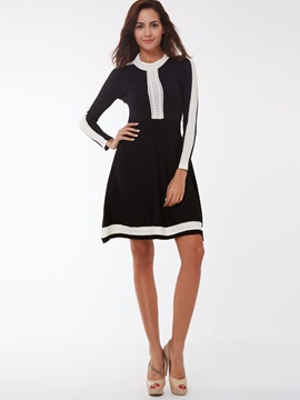 Color Block Nine Points Sleeve Patchwork Day Dress