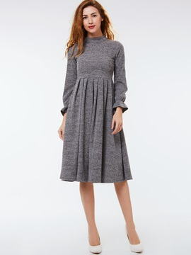 Turtleneck Lantern Sleeve Zipper Day Dress