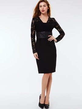 V-Neck Lace Patchwork Zipper Day Dress