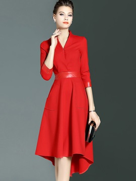 Solid 3/4 Sleeve Asymmetric Day Dress