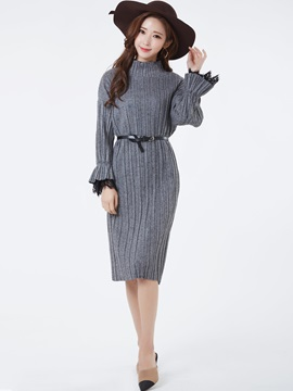 Turtleneck Flare Sleeves Pleated Day Dress