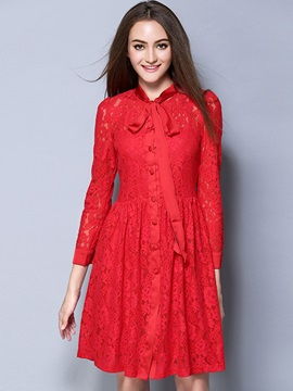 Single-Breasted Bowknot Patchwork Lace Dress