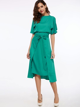 Batwing Sleeve Asymmetrical With Lace-Up Day Dress