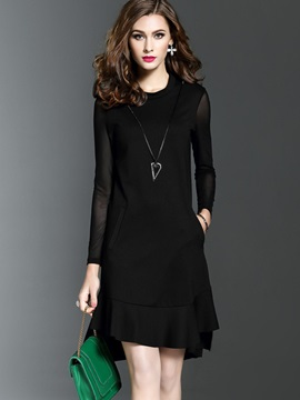 Black Long Sleeve Knee Length Day Dress