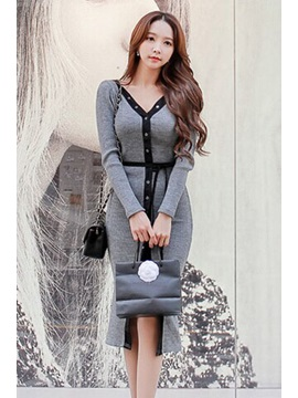 Gray and Black Deep V Neck Sweater Dress