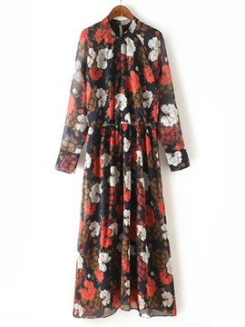 Chic Floral Print Long Sleeve Day Dress