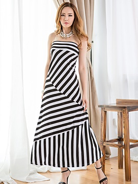 Stripe Off-the-Shoulder Day Dress