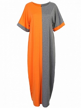 Contrast Color Round Neck Short Sleeve Day Dress