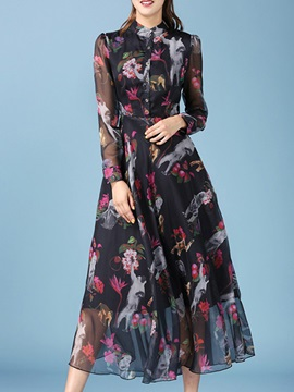 Floral Print Long Sleeve  Button Day Dress