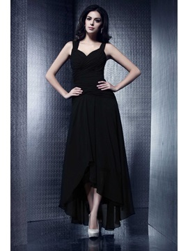 Cool A-Line Ruffles Asymmetry Straps Taline's Party Dress