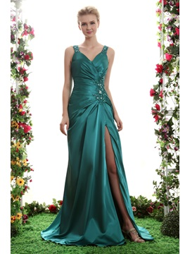 Charming A-Line V-Neck Split-Front Beading Sweep Train Yana's Evening Dress