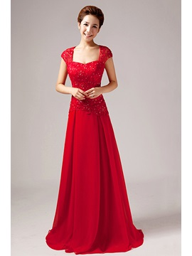 Cap Sleeves A-Line Lace Sequins Long Evening Dress