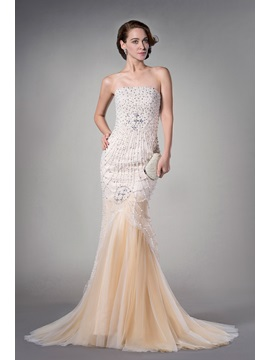 Luxurious Mermaid Sleeveless Tulle Beading Pearls Strapless Court Train Evening Dress