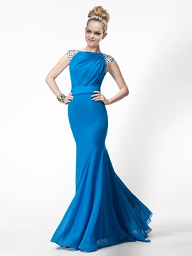 Stylish Trumpet Bateau Neckline Beading Long Evening Dress