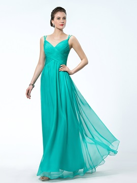 A-Line Chiffon Criss-Cross Straps Ruched Floor-length Evening Dress