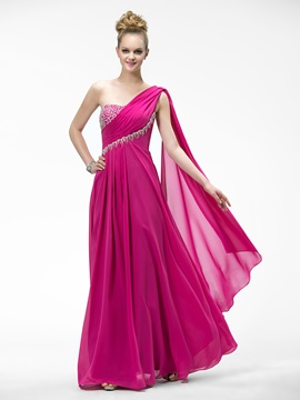 One-Shoulder Beadings Zipper-up Watteau Train Floor-Length Evening Dress