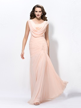 Admirable Beading Cowl Neckline Trumpet/Mermaid Zipper-Up Floor Length Evening Dress