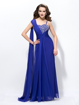 Beading Straps A-Line Floor Length Watteau Train Evening Dress