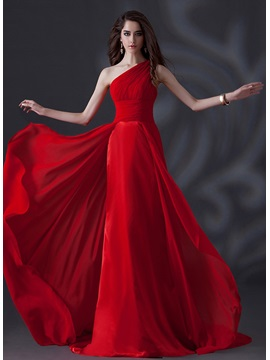 Simple Style A-Line One-shoulder Pleats Empire Waist Floor-length Chapel Train Evening Dress