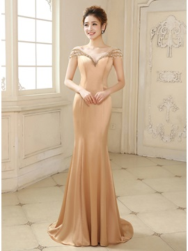 Courtlike Tulle Neck Mermaid Beading Bowknot Long Evening Dress