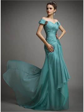 Elegant Off-the-Shoulder Beading Pleats Sweep Train Long Evening Dress