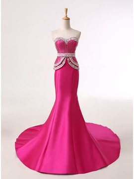 Mermaid Sweetheart Beading Tiered Lace-up Court Train Evening Dress