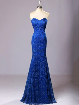 Timeless Sweetheart Lace Trumpet Lace-up Long Evening Dress