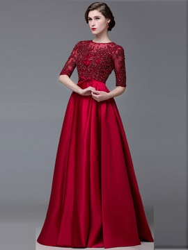 Vintage Jewel Neck Half Sleeves Appliques Lace-Up Evening Dress