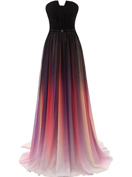 Fancy Strapless Pleats Fading Color Long Evening Dress