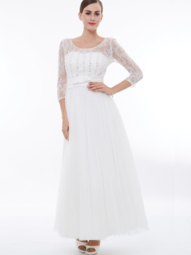 3/4 Length Sleeves Lace Beading Evening Dress