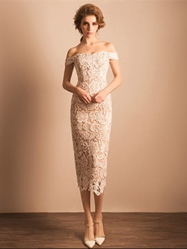 Elegant Off the Shoulder Sheath Tea-Length Lace Evening Dress