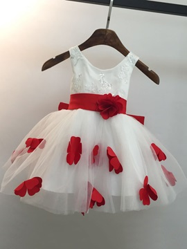 Knee Length A-Line Scoop Neck Beaded Lace Bowknot Princess Flower Girl Dress