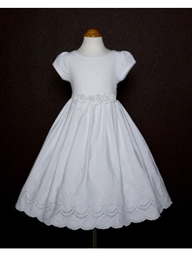 A-line Ankle-length Short-Sleeve Embroidery Flower Girl Dress