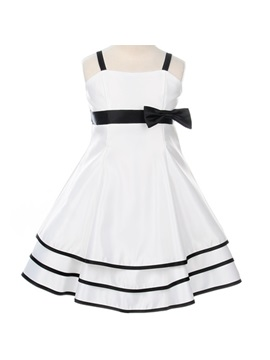 Beautiful Square A-line Tea-Length Embellishing Bowknot Flower Girl Dress