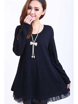 Round Neck Long Sleeve Plus Size Casual Dress