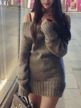 Solid Color Boat Neck Sweater Dress